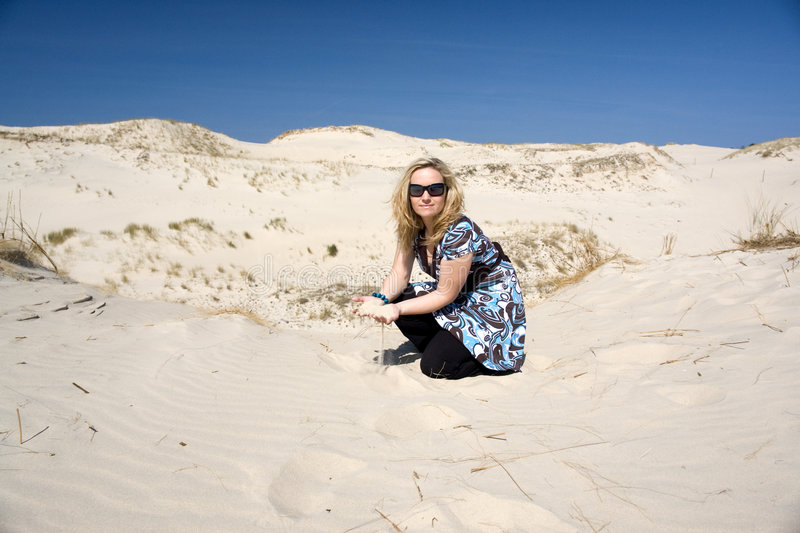 Download Woman in Sand stock image. Image of sand, sitting, dunes - 2375783