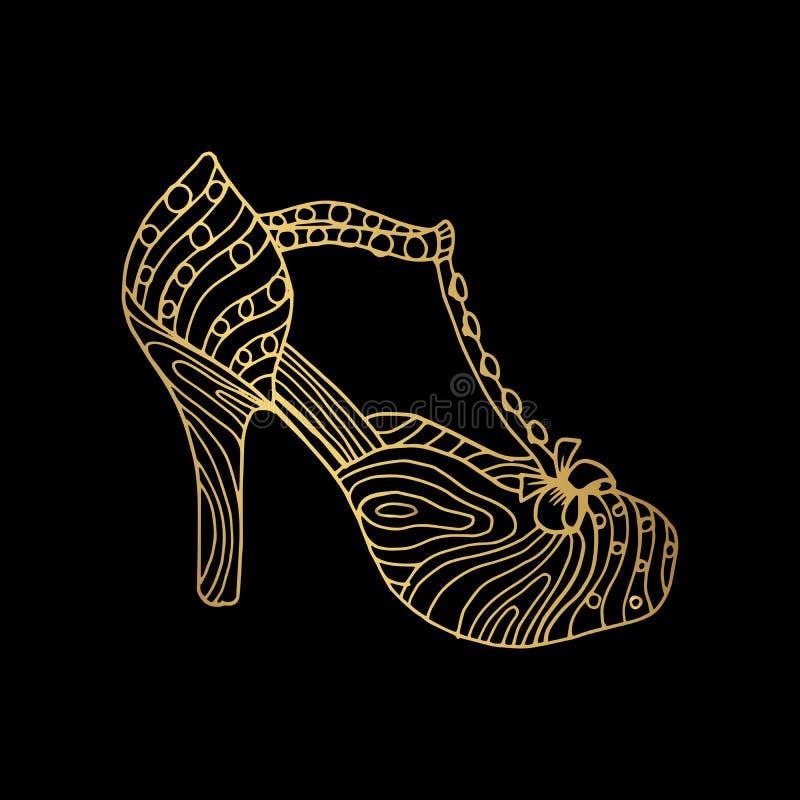 Woman sandals or lady shoe, golden ornament vector illustration