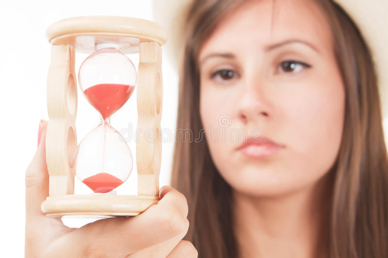Download Woman with sandclock stock image. Image of hourglass - 28069647