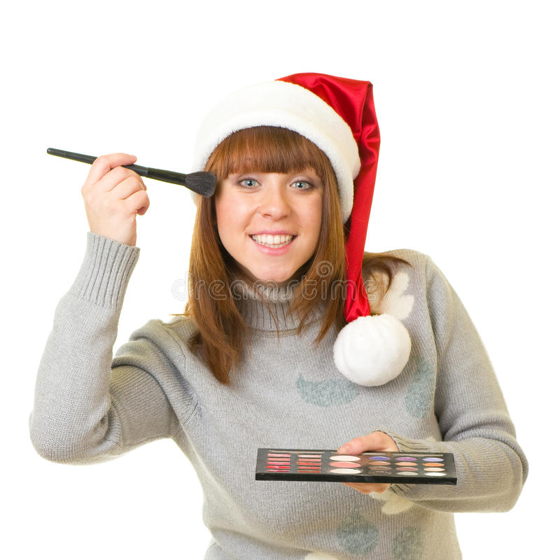Woman In Santa Claus Clothes With Beauty Cosmetics Stock Image