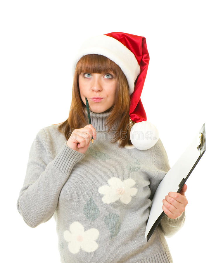 Download Woman In Santa Claus Clothes Leaning On Blank Boar Stock Photo - Image of girl, fashion: 22582462