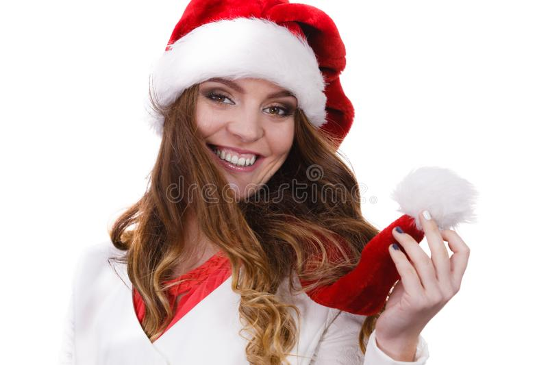 Woman in santa claus hat free and happy royalty free stock photography