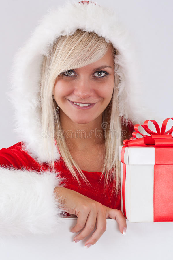 Download Woman with Santa Hat stock photo. Image of happy, claus - 21783634