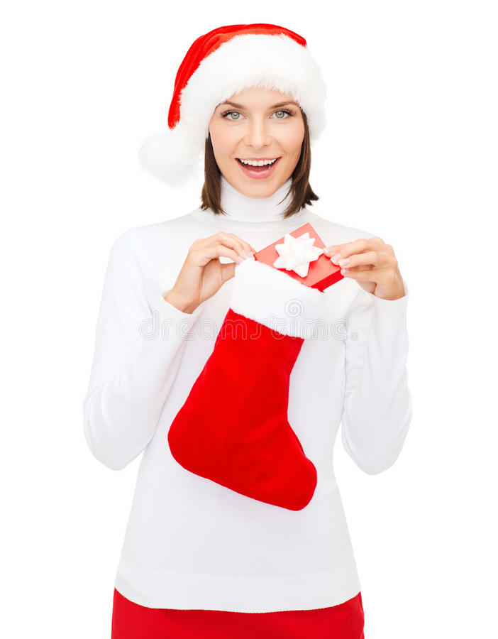 Download Woman In Santa Hat With Gift Box And Stocking Stock Image - Image: 34108963
