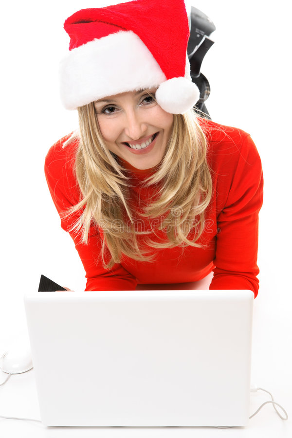 Download Woman In Santa Hat With Laptop Stock Photo - Image: 3651846