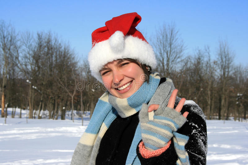 Download Woman In Santa Hat With Okay Stock Images - Image: 12859614