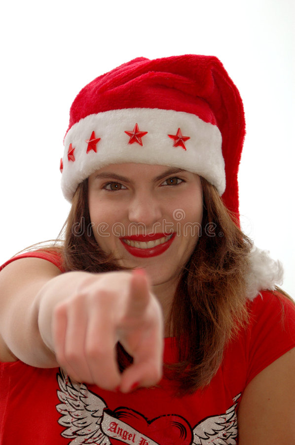 Download Woman In Santa Hat Pointing Stock Image - Image: 3375681