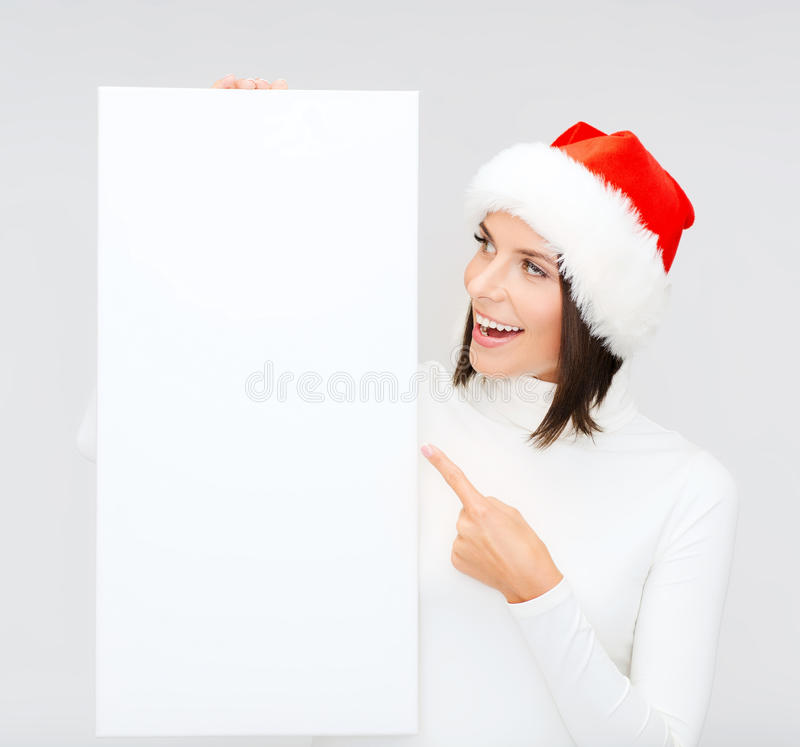 Download Woman In Santa Helper Hat With Blank White Board Stock Image - Image of holding, advertisement: 34396021