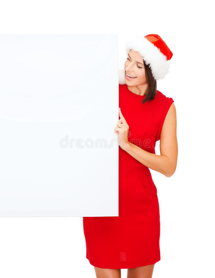 Download Woman In Santa Helper Hat With Blank White Board Stock Photo - Image: 34396074