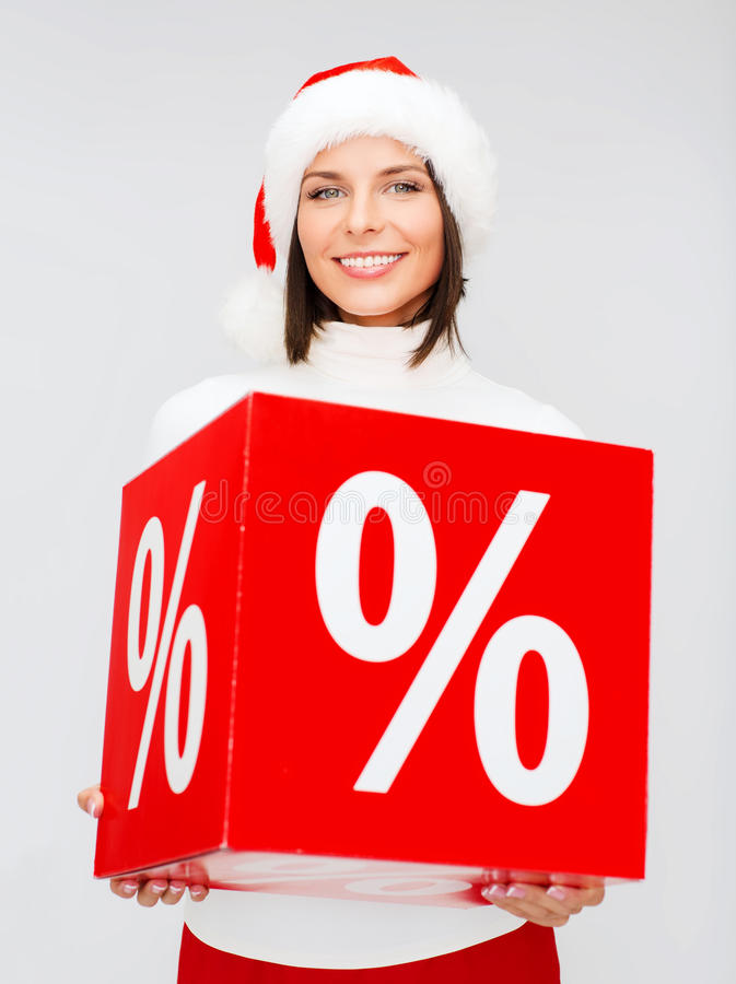 Download Woman In Santa Helper Hat With Percent Sign Stock Image - Image: 34395491