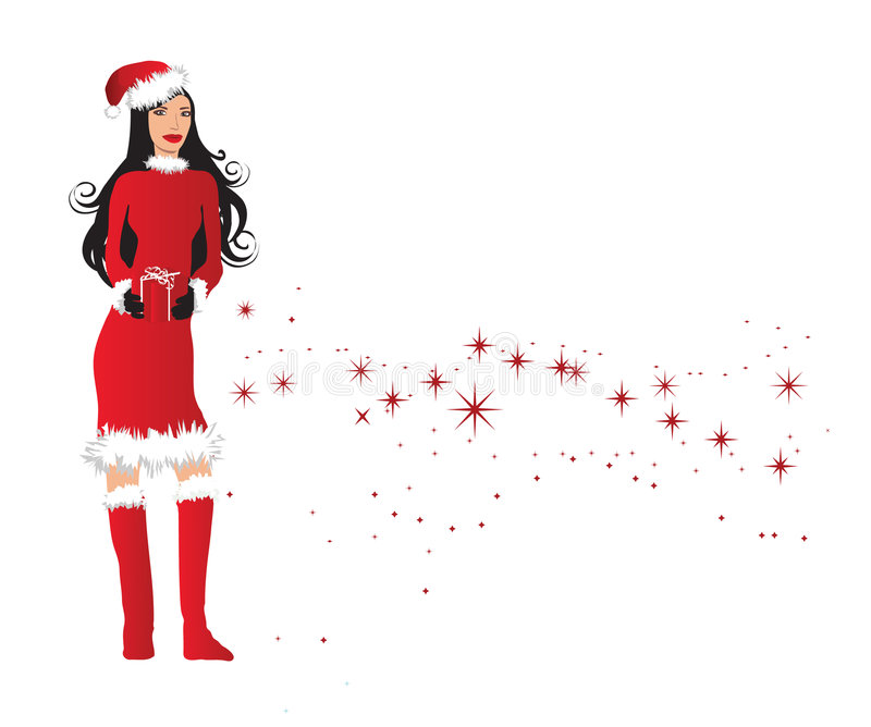 Download Woman In Santa Outfit Holding Stock Illustration - Image: 3760830