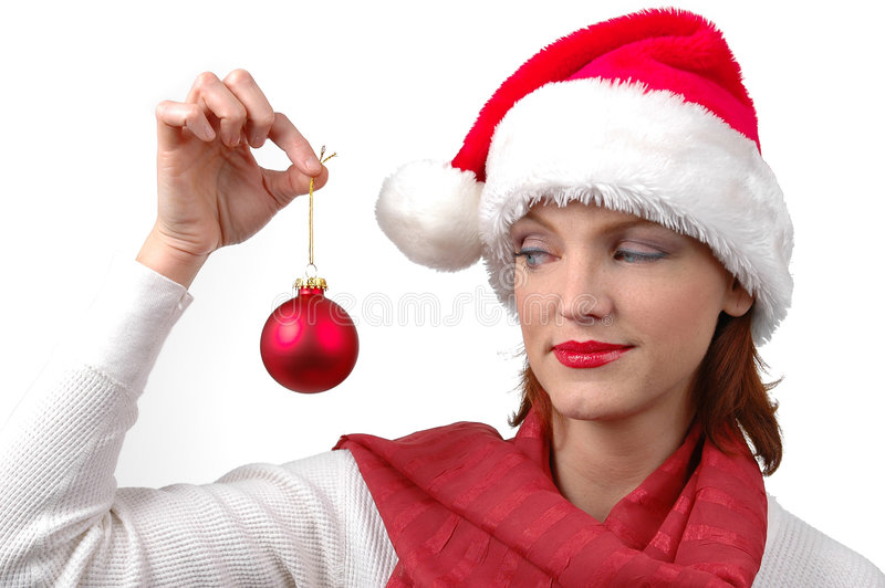 Download Woman With Santa's Hat With Christmas Ornament Stock Image - Image: 1601739