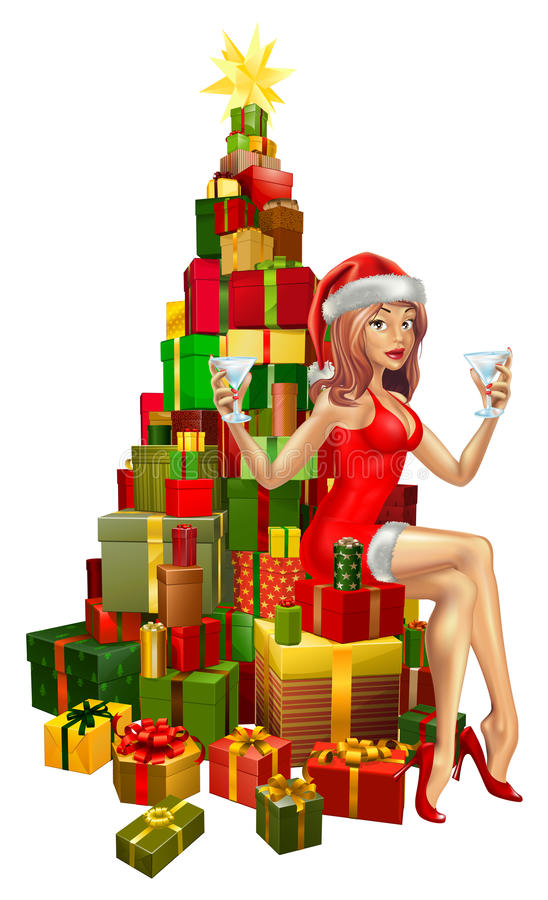 Woman Santa On Stack Of Gifts Royalty Free Stock Image