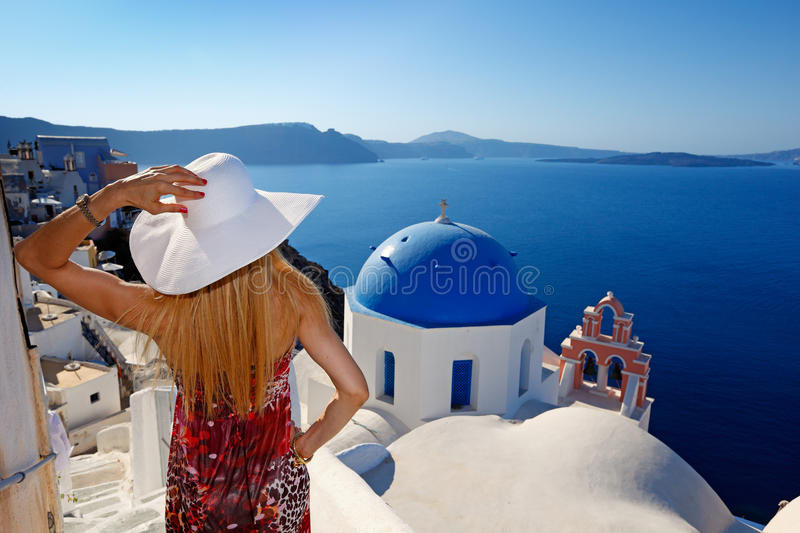 Woman in Santorini royalty free stock images