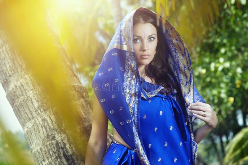 Woman in sari royalty free stock photos