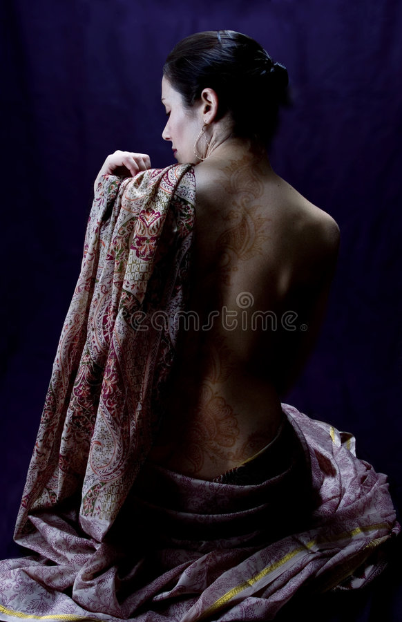 Woman in a sari with a henna tattoo royalty free stock photos