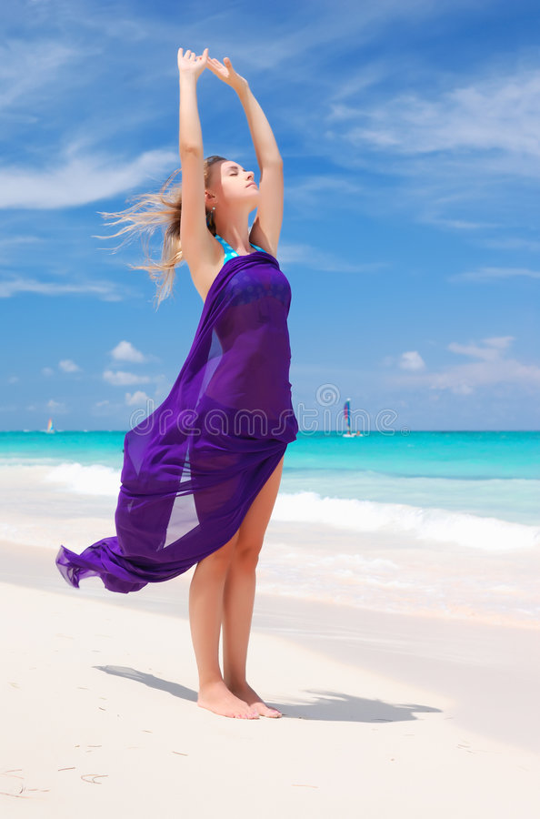 Woman with sarong royalty free stock photography