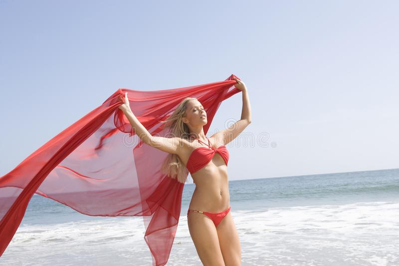 Woman With Sarong On A Windy Beach royalty free stock image