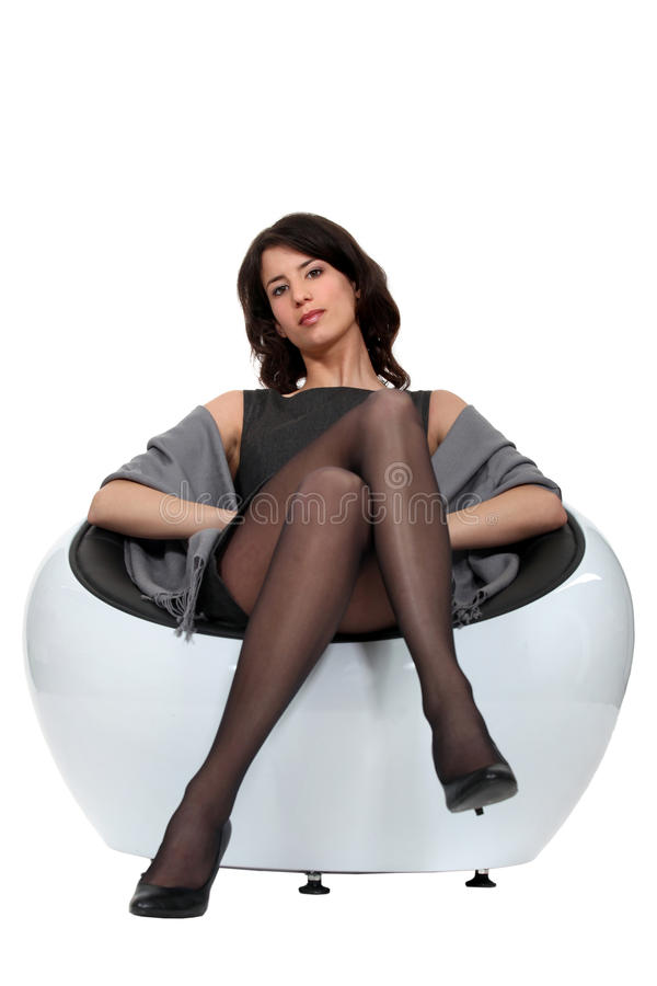 Download Woman sat in evening dress stock image. Image of attractive - 25433733
