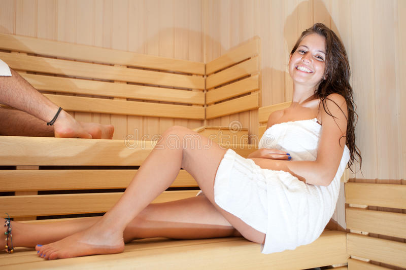 Woman In The Sauna Royalty Free Stock Images