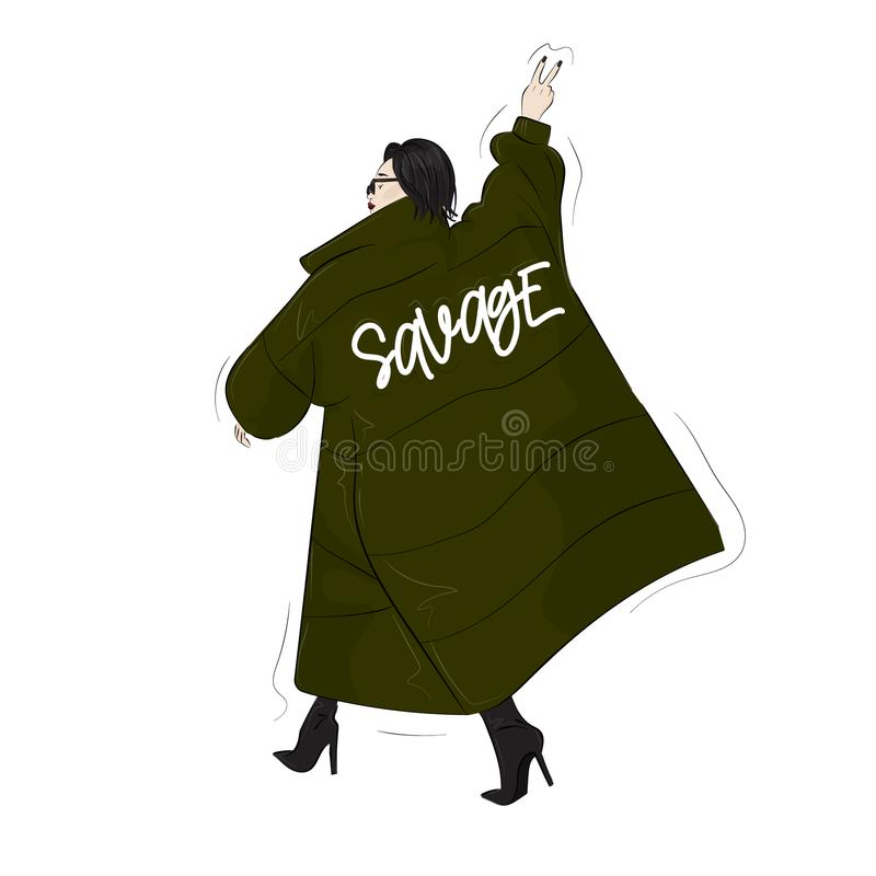 Woman in savage green oversize blanket coat. Casual street style look. Modern glamour autumn outfit. Magazine cove. R drawing. Swag runaway royalty free illustration