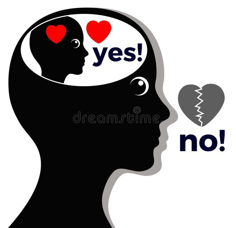 Woman says No where she means Yes. Concept of self deception or lying to oneself vector illustration