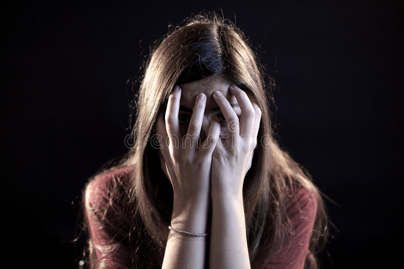 Woman scared royalty free stock photography