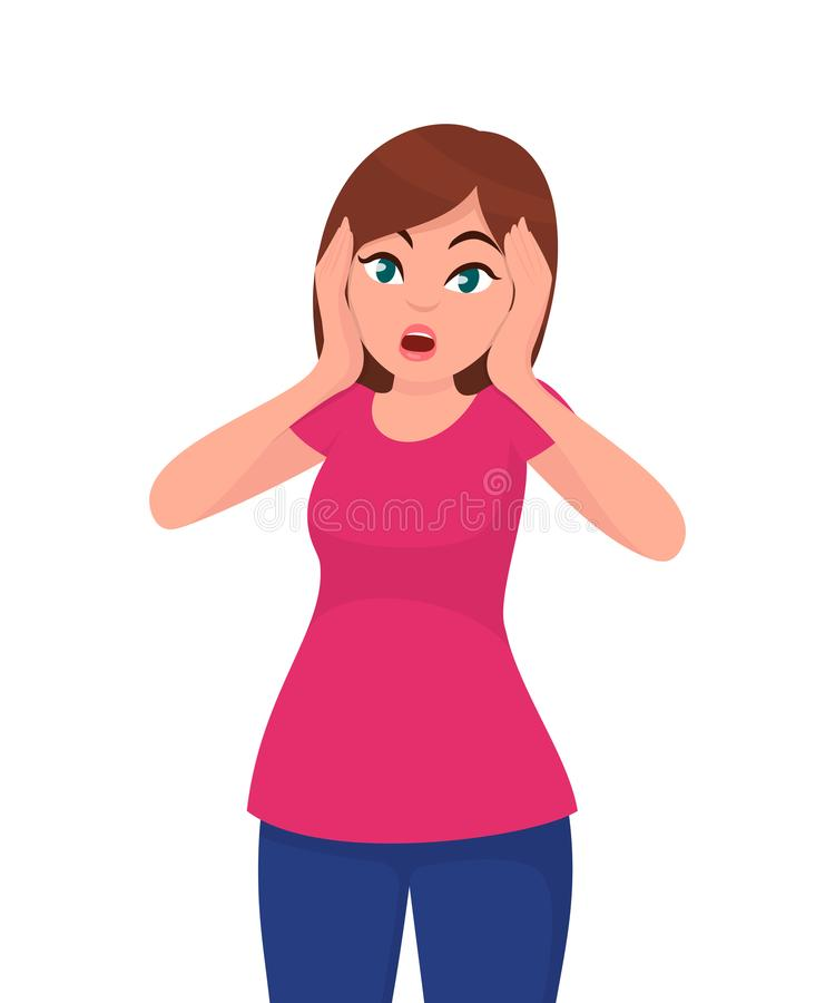 Woman with scared/shocked face expression, girl amazed and holding/keeping her hand on the face. Human emotion concept vector. stock illustration