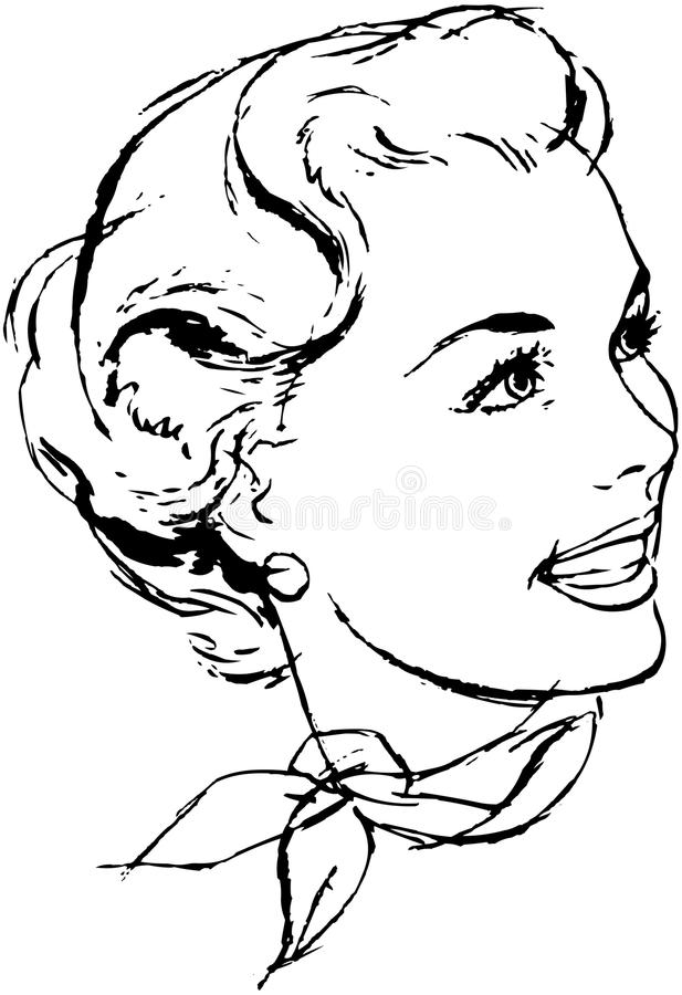 Woman With Scarf stock illustration