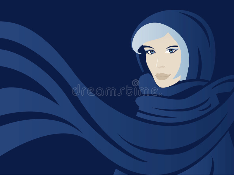 Download Woman with scarf stock vector. Illustration of dark, female - 7902735