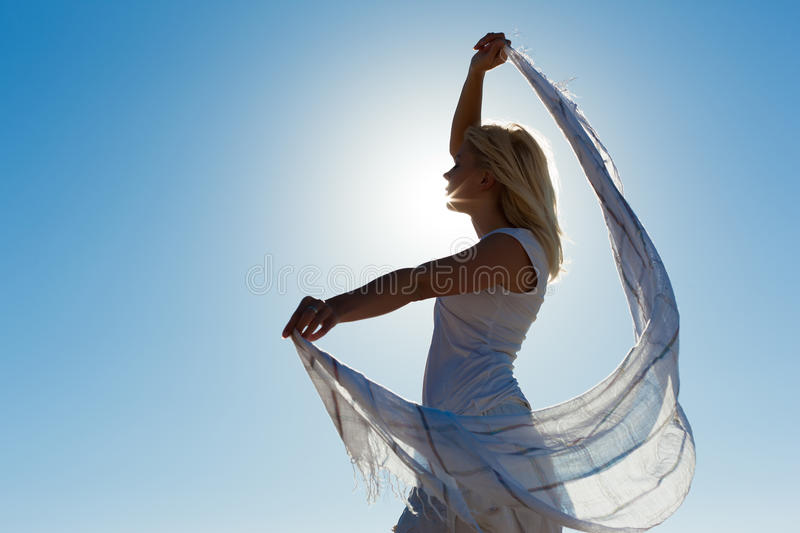 Woman With Scarf Feeling Balanced Royalty Free Stock Images