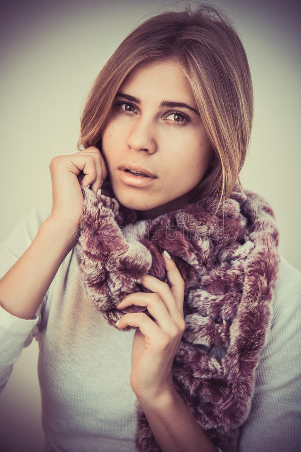 Woman in scarf royalty free stock photo
