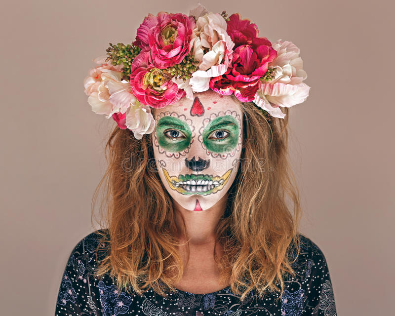 Woman with scary makeup stock photo