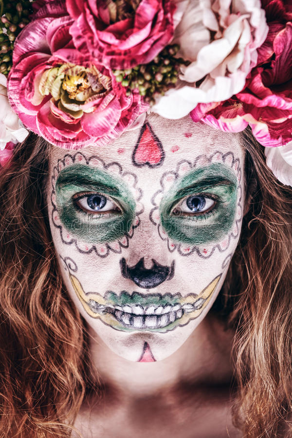 Woman with scary makeup stock image