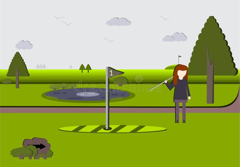 Woman on a Scenic Golf Course. A beautiful golf course showing a woman leaving hole #1. The style is a combination of flat with a nod to old style foamboards royalty free illustration