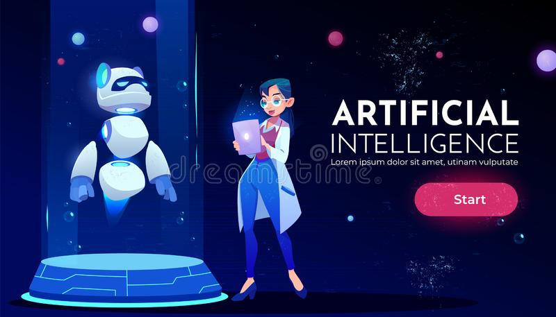 Woman scientist in front panda robot neon banner stock illustration
