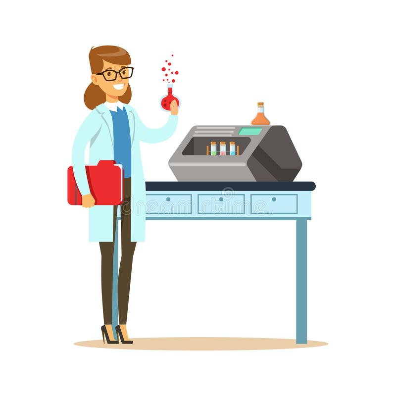 Woman scientist in laboratory with chemical glass bulb in hand stock illustration