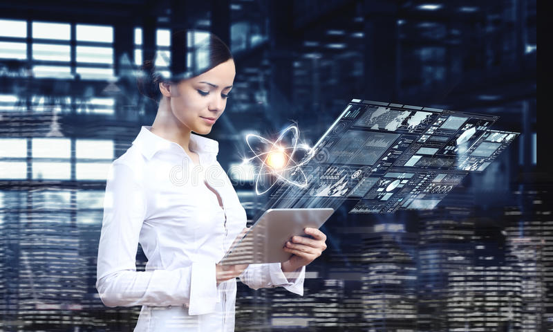 Woman scientist making research . Mixed media royalty free stock images