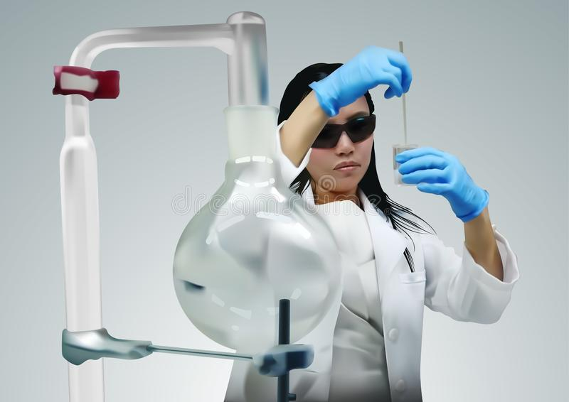 Woman Scientist Using Pipette in Laboratory stock illustration