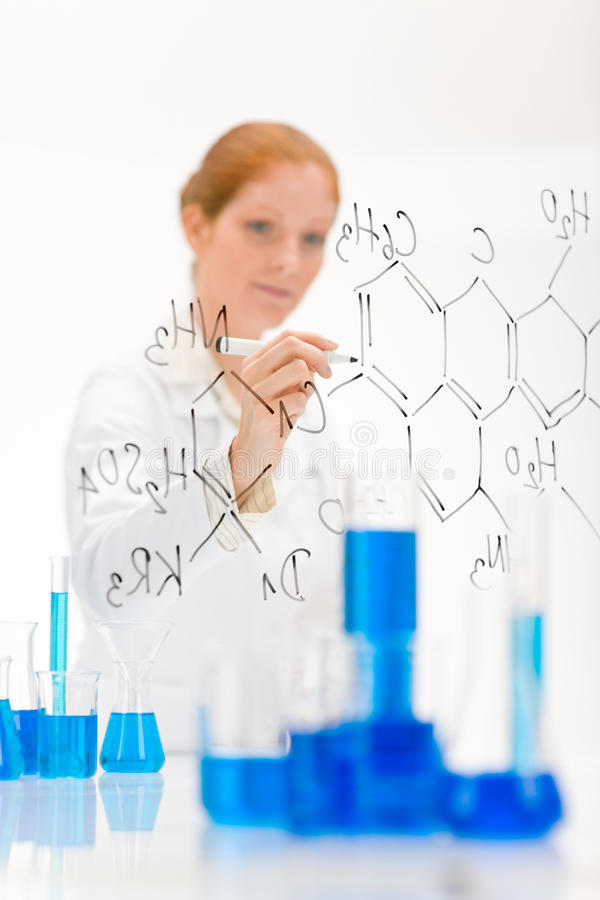 Download Woman Scientist Write Chemical Formula Stock Image - Image: 16591581