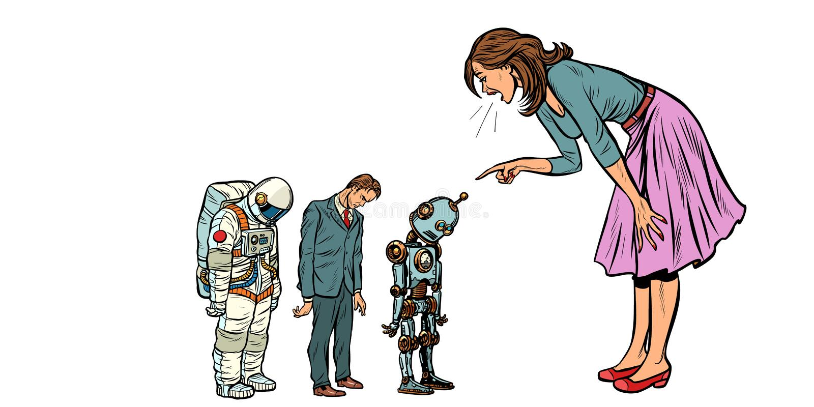 The woman scolds businessman, spaceman and robot stock illustration
