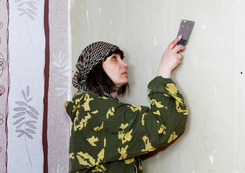 Woman scraped the old wallpaper royalty free stock photo