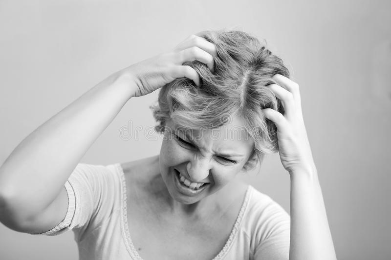 Woman Scratching her head isolated on white background. Clipping stock image