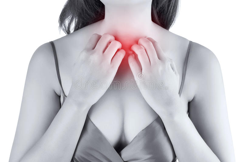 Woman scratching her itchy chest royalty free stock photos