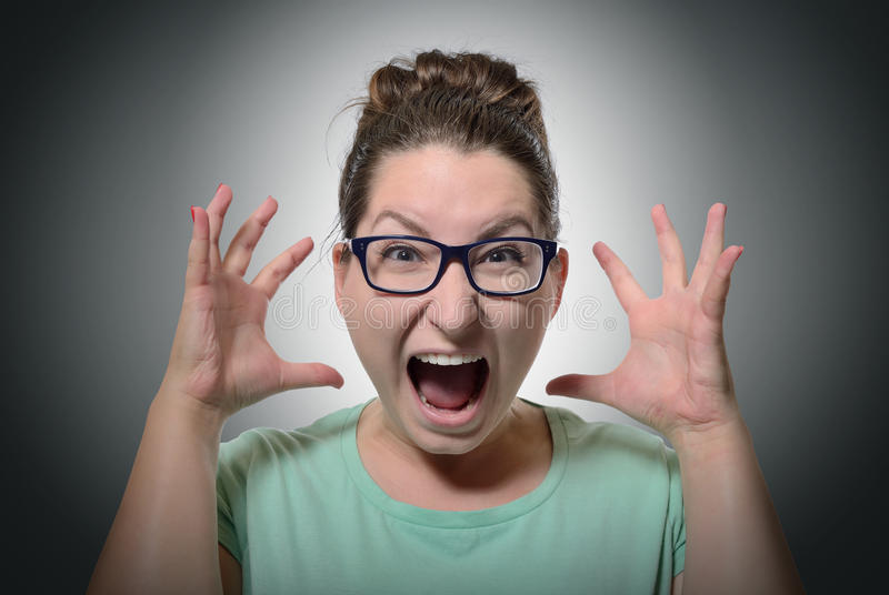 Woman Screaming In Horror, Grimace Portrait Stock Photography