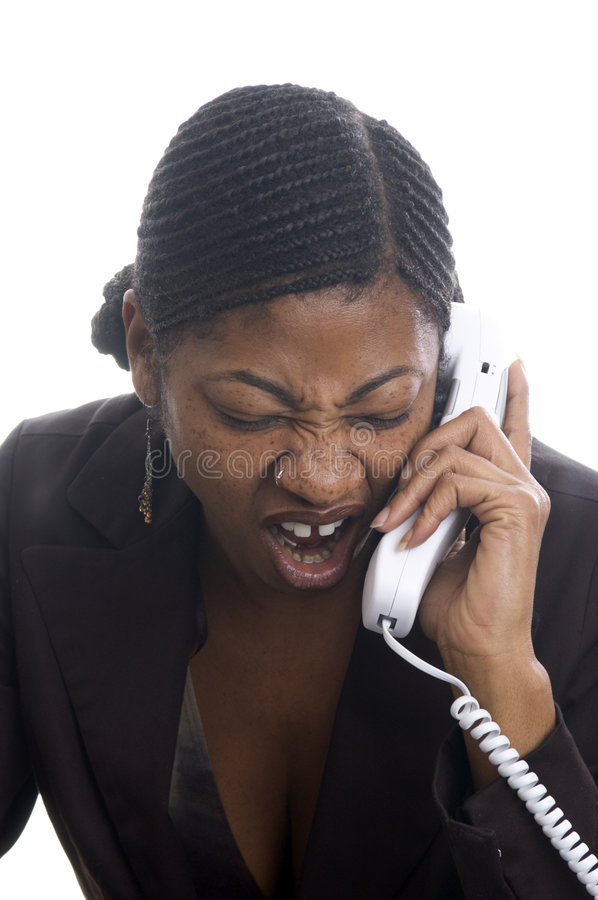 Woman Screaming In Telephone Royalty Free Stock Photo