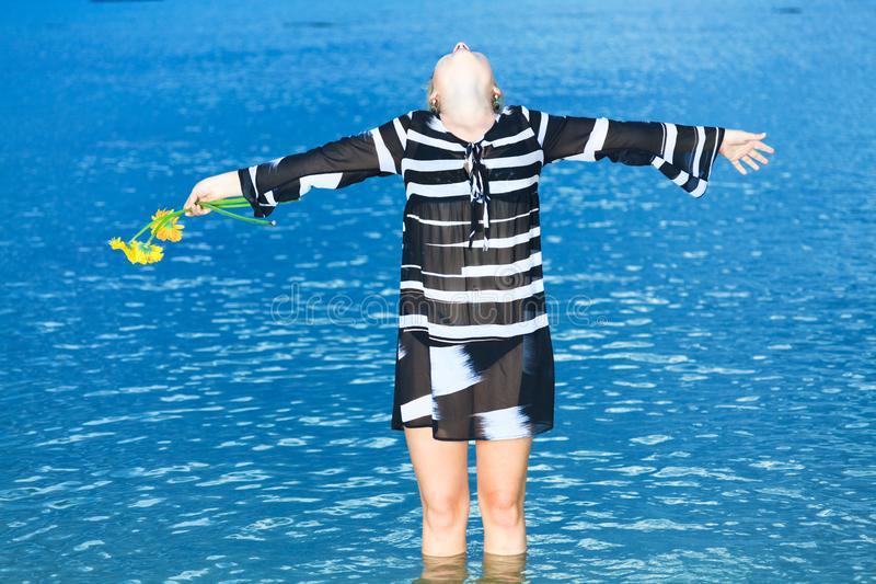 Woman in the sea royalty free stock image
