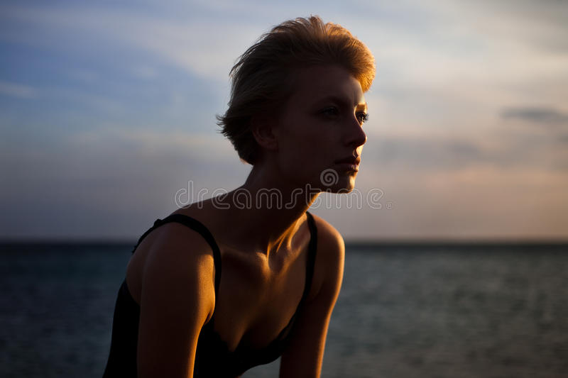 Woman and sea royalty free stock photography