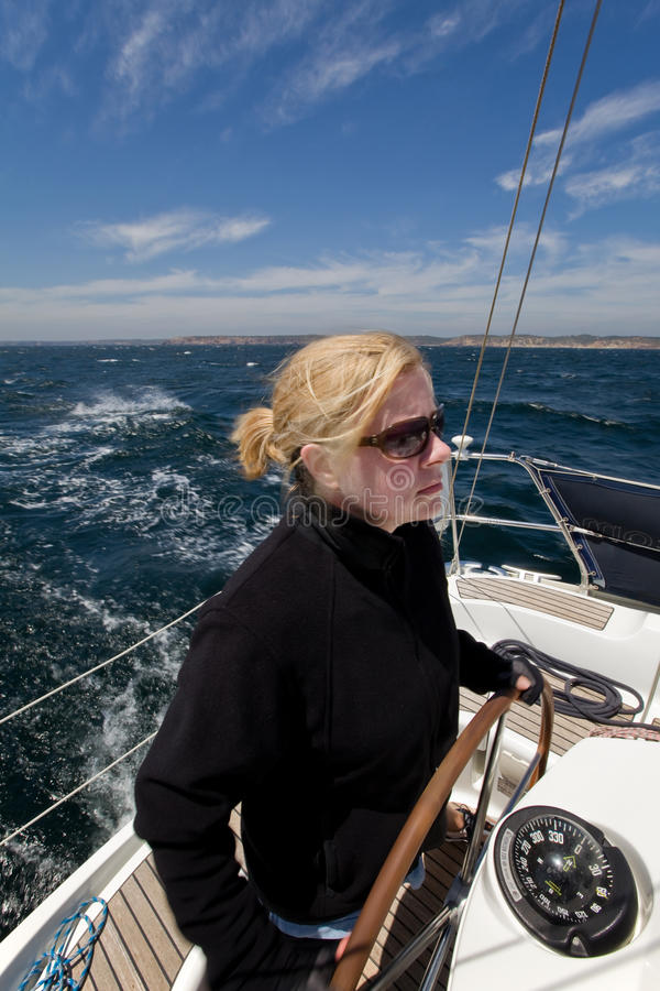 Download Woman at sea stock photo. Image of choppy, clouds, rough - 9387444