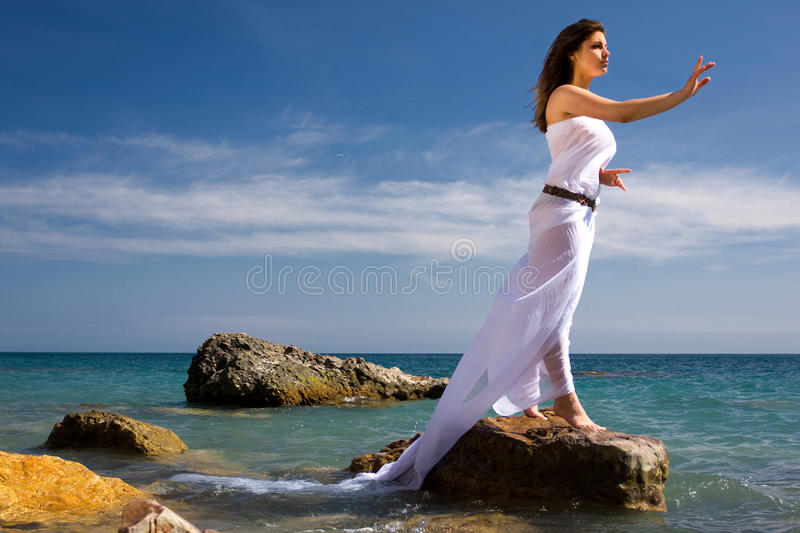 Woman And Sea Beach Royalty Free Stock Photo